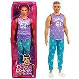 Barbie Fashionistas poupée Mannequin Ken #165 Brun avec Marcel Malibu, Pantalon à étoiles et Chaussures Blanches, Jouet pour Enfant, GRB89