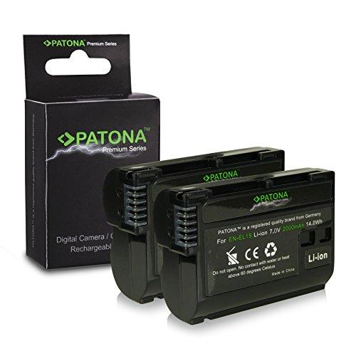2x Premium Batteria EN-EL15 ENEL15 per Nikon 1 V1 - Nikon D600 | D800 | D800E | D7000 | D7100 [ Li-ion; 2000mah; 7.0V ]