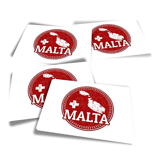 Vinyl Rectangle Stickers (Set of 4) - Malta Maltese Flag Map Travel Fun Decals for Laptops,Tablets,Luggage,Scrap Booking,Fridges #4285