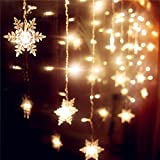 Senofun Snowflakes LED Curtain Lights Color Changing 11.5ft 16 Snowflakes Fairy Lights 80pcs LED Snowflake Lights for Home, Church, Wedding, Birthday (Snowflakes-Warm White)