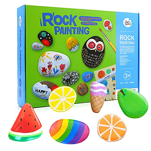 Jar Melo Rock Painting Kits for Kids; Hide & Seek Rock Kits; Crafts for Kids; Acrylic Paint for 10 Rocks; Arts & Crafts Kits for Kids Ages 4-8; Ideas for Kids Activities Age 3 4 5 6 7...