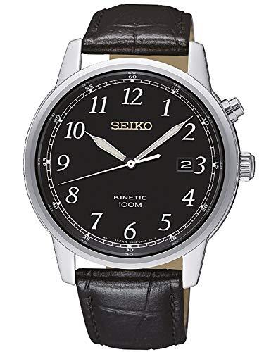 Seiko Reloj Analógico para Hombre de Kinetico con Correa en Cuero SKA781P1