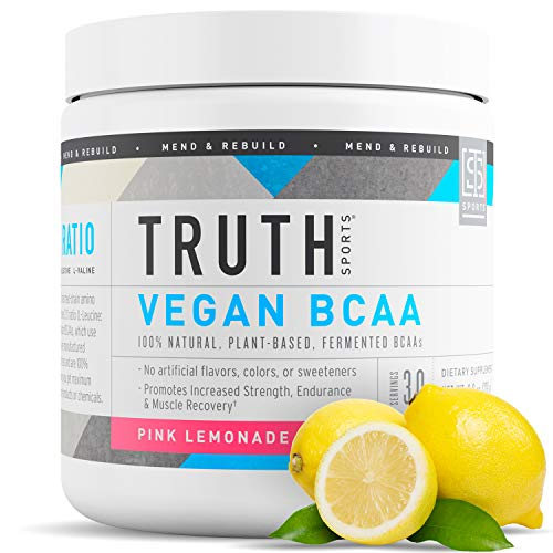 Truth Nutrition Fermented Vegan BCAA Powder- 2:1:1 Ratio All Natural Branched Chain Amino Acids for Energy, Muscle Building, Post Workout Recovery and Endurance (Pink Lemonade, 30 Servings)