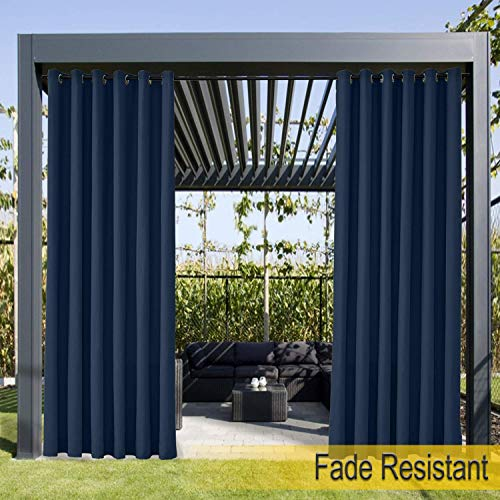 Waterproof, Fade Resistant Outdoor Curtain Navy 66'W x 72'L, Rustproof Grommet Eyelet Drapes For Front Porch, Pergola, Cabana, Covered Patio, Gazebo, Dock, and Beach Home (1 Panel).