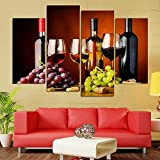 GSDFSD Painting Stampe e Quadri su Tela 4 Pezzi - Immagini Moderni Murale Fotografia Grafica Decorazione da Parete - Bicchieri di Alcol Vino D'uva - M/W = 120Cm,H = 80Cm