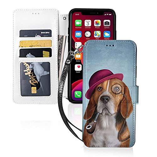 Estuche para teléfono LINGF,Estuche Cool Dog Beagle para iPhone 11 Pro Estuche Lindo para Mujeres,Hombres,Billetera,Estuche de Cuero con Correa,Estuche Protector