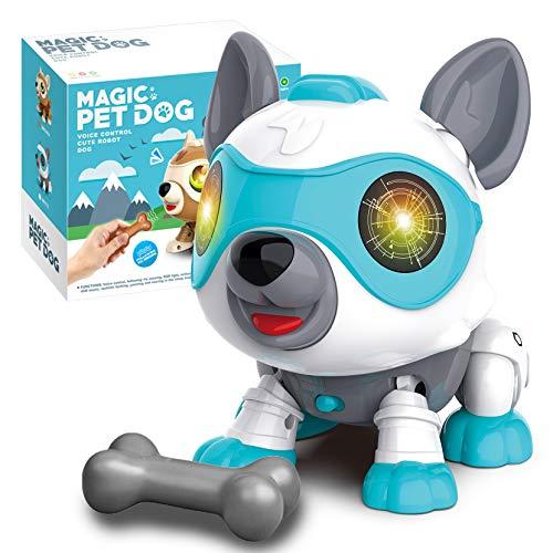 aovowog Perro Robot Juguete para Niños Juguete Interactivo con Emociones y Movimiento Buddy Interactivo Mascota Perro Juguete Que Anda y Ladra Juguete Friends niño 3 4 5 6 7 años