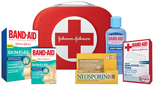 Band-Aid Brand First Aid Kit with Skin-Flex Adhesive Bandages, Neosporin Antibiotic Ointment & Band-Aid Brand Antiseptic Wash, All-purpose First Aid Value Pack, 40 Piece