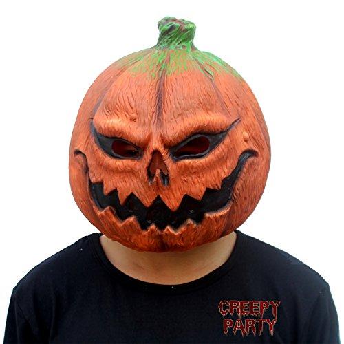 CreepyParty Deluxe Novelty Halloween Costume Party Props Latex Pumpkin Head Mask (Pumpkin)
