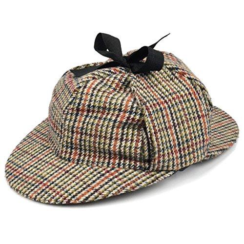 Sherlock Holmes Tweed Deerstalker hoed met twee pieken en oorflappen