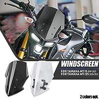 Lorababerオートバイ風防 MT 15 125 PCウインドスクリーレーシングエアフローウインドウインドシールドデフレクターマウンティングブラケット付き適用車種 Yamaha MT15 MT-15 MT125 MT-125 2020&Up (煙)