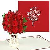 PaperCrush Pop-Up Karte Rote Rosen - 3D Blumen Geburtstagskarte mit Rosenstrauß, Romantische Glückwunschkarte für Frau, Freundin (z.B. Geburtstag, Weihnachten, Hochzeitstag)