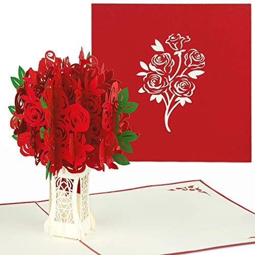 PaperCrush® Pop-Up Karte Rote Rosen - 3D Geburtstagskarte für Sie, Blumen Glückwunschkarte mit Rosenstrauß, Geschenkkarte für Frauen, Freundin (Geburtstag, Hochzeitstag, Muttertagskarte)