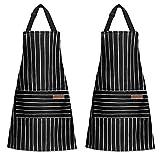 Grembiule con pettorina regolabile unisex - Grembiule da cucina a righe 2 pezzi con 2 tasche per uomo donna, cucina di casa, ristorante, caffetteria (Nero+Nero)