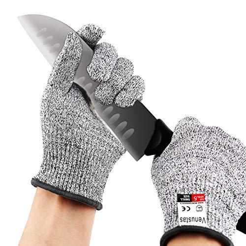 Venustas Schnittfeste Handschuhe, Leistungsfähiger Level 5 Schutz, Lebensmittelecht, dünne Arbeitshandschuhe Schnittschutzhandschuhe zum Kochen im Freien, 1 Paar