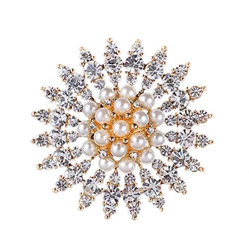 Mecool Broche Broche de Perlas de imitación Broches de Cristal simulados Broche de Flores