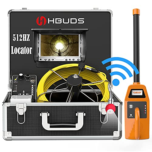 """HBUDS Sewer Camera with Locator, 100ft Pipe Inspection Camera with 512Hz Sonde Transmitter and Receiver, IP68 Waterproof Plumbing Drain Camera Snake, Pipe Locators with 7"""" Color Monitor DVR Recorder"""
