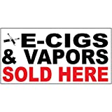 E-Cigs & Vapors Sold Here Black Red DECAL STICKER Retail Store Sign Sticks to Any Surface