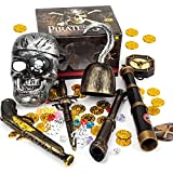 Pirate Treasure Play Set for Kids,Pirate Role-Play Toys ,Pirate Costume kids Accessories with Pirate Mask,Gold Coins,Pirate Hook,Compass,Telescope,Skeleton Hand,Plastic Sword,Eye Patch,Badge for Party Decor.