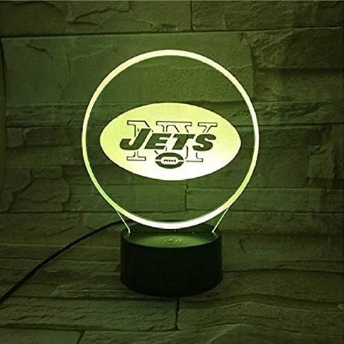 New York Jets 3D Nachtlicht 7 Farben Schlaflicht USB Power LED Flash Touch Fernbedienung Kinderzimmer Touch-Touch