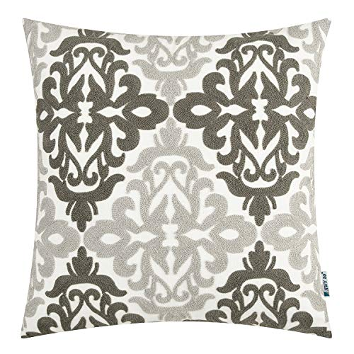 Review Of HWY 50 Couch Pillows Covers 18 x 18 Grey Embroidered Decorative Throw Pillows Covers Cushi...