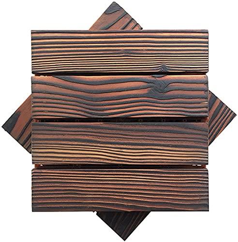 Baldosas de Madera Terraza Baldosas Azulejos de Cubierta entrelazados 2 Piezas Azulejos de Madera para Cubierta Resistente a la corrosión DIY Empalmado para Patio, balcón, Porche, Patio Trasero GCSQ