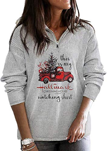 Women Zip Casual Pullover Hallmark Christmas Movie Watching Sweatshirt Plus Size Grey