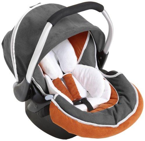 Hauck Zero Plus Select Babyschale, 0 +, ECE Gruppen 0 ab Geburt bis 13 kg nutzbar, leicht, Seitenaufprallschutz, grau orange (orange/grey)