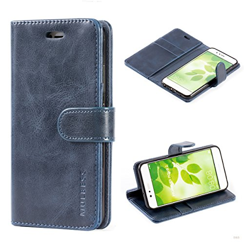 Mulbess Flip Tasche Handyhülle für Huawei Nova 2 Hülle Leder, Huawei Nova 2 Klapphülle, Huawei Nova 2 Handy Hülle, Schutzhülle für Huawei Nova 2 Handytasche, Navy Blau