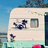 Pegatina Promotion Wohnmobil Wohnwagen Aufkleber Delphine im Sonnenuntergang Strand Meer Urlaub Life's a Beach Palmen ca ca 40cm S WOM