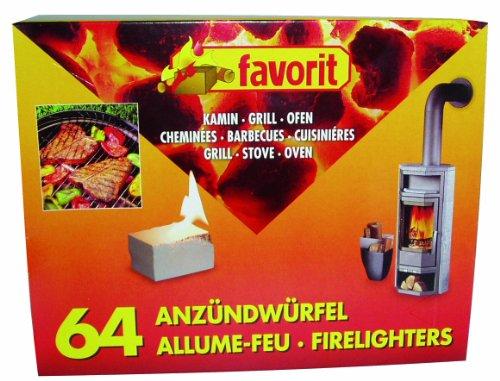 Favorit 1249 Anzündewürfel für Grill, Kamin und Ofen; Weiße Anzünder auf Kerosinbasis, besonders brennstark und einfach zu verwenden; in praktischer Vorratsgröße: 64 Stück