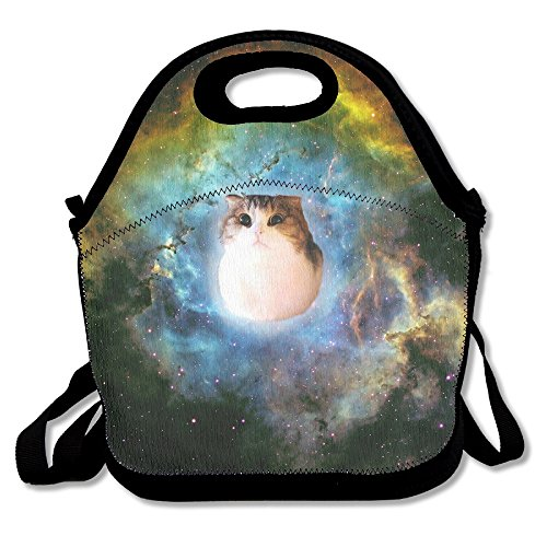 Neoprene Lunch Tote - Space Cat Insulated Waterproof Reusable Picnic Travel Tote Lunch Bag For Men Women Adults Kids Toddler Nurses With Rope Belt Stylish Adjustable Shoulder Strap - Best Travel Bag
