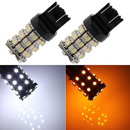 TABEN 7443 W21/5W Switchback LED Clignotants BAY15D 7443NA 7441 7444 Ampoule Ambre/Blanc pour Clignotant DRL Parking Lumière (Pack de 2)