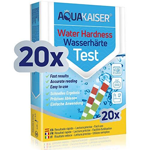 Aquakaiser Cartine per misurazione durezza dell'Acqua - Test per l'analisi dell'Acqua di casa, stagni, Piscine, acquari - 20 Pezzi confezionati singolarmente