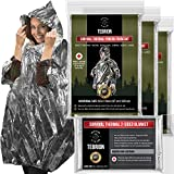 TEBRION 3 x Reusable Waterproof Thermal Raincoat Set: Perfect for First Aid Kit, Auto, Survival, Outdoors. Bonus 1 x Reusable Extra Large Size (63' x 82') Authentic Mylar Blanket Pack