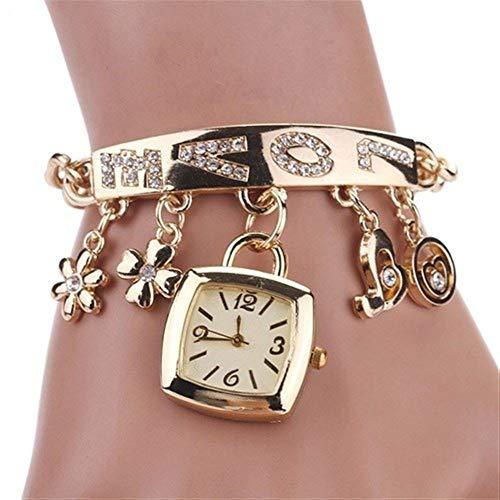 NOLOGO Kreative Lock-Uhrenarmband-Art und Weiseuhr weibliche Studenten minimalistischen Gezeiten- Alloy Diamant-Uhren Wickel Beistelltisch Leute, die Laufen (Color : Golden)