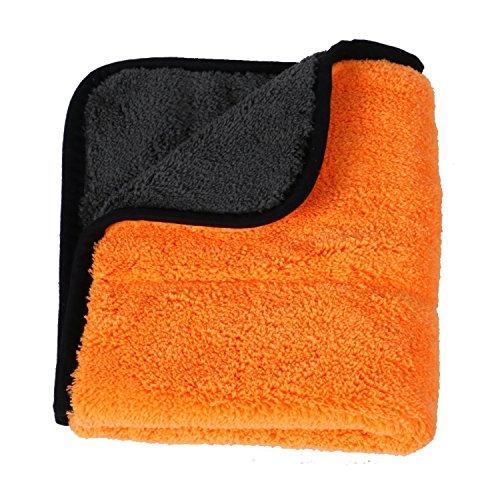 HEYB Ultra suave terciopelo coral paño de limpieza de coche pulido cera toallas de secado rápido multiusos 45 x 38 cm naranja+gris