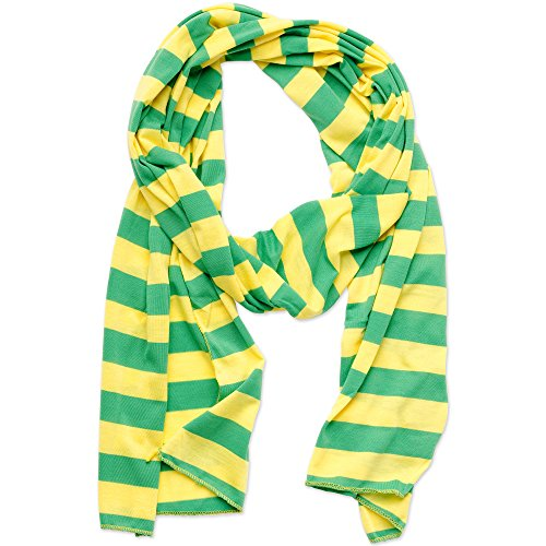 """Tickled Pink Women's Game Day Sports Team Apparel Scarf or Wrap, Jersey Stripe, Green/Gold, 14 x 75"""""""