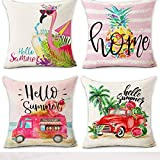 ice cream bar couch - Hexagram Hello Summer Pillow Covers 18x18 Inch Watermelon Pineapple Flamingo Ice Cream Truck 4 Pieces Soft Cotton Linen Throw Pillow Covers for Sofa Couch Summer Theme Home Decoration