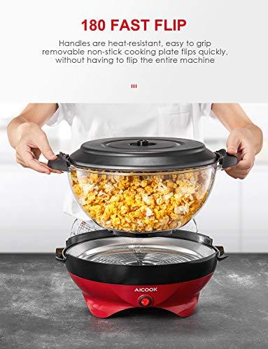Aicook Macchina Popcorn, 5L Macchina per Popcorn con Rivestimento con Antiaderente, Staccabile, Silenzioso e Rapido, Senza BPA