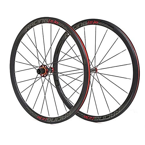 DSMGLSBB Rueda De Bicicleta, 9-12 Velocidades Aleación De Aluminio Ruedas De Carretera De Freno De Disco, 36 Cuchillo 700C Juego De Ruedas De Carretera