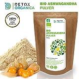 ASHWAGANDHA PULVER BIO 500g // ECHTE Indische Withania Somnifera // Reines Bioprodukt // Schlafbeere, indischer Ginseng, Winterkirsche // Root Powder // Premium Qualität von Detox Organica