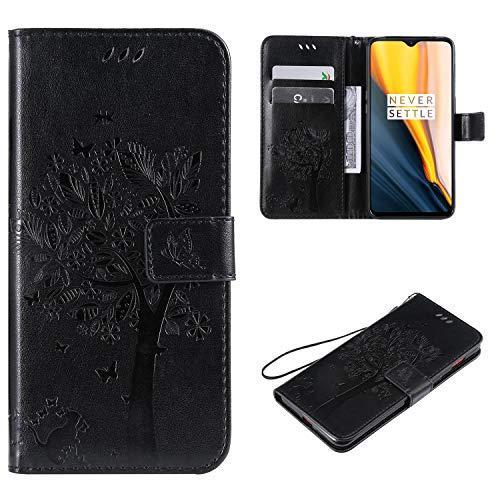 Cofola Funda Sony Xperia Z5 Compact / Z5 Mini - Gofrado Arbol y Gato Funda de Cuero Billetera Clamshell Case Cover Sony Xperia Z5 Compact / Z5 Mini [Negro]