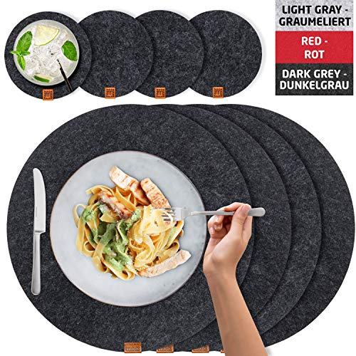 Miqio® Design Runde Tischsets aus Filz abwaschbar | Mit Marken Echtleder Label und Glasuntersetzer | 6 Platzsets 6 Untersetzer | Filzmatte Platzdeckchen abwschbari