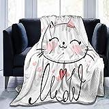 XCNGG mantas de cama mantas de siesta mantas de aire acondicionado Pink Cute Cat Sketch Sherpa Blanket Comfy Premium Winter Flannel Throw Blanket Comfortable Fleece Noon Break Blanket Durable Office L