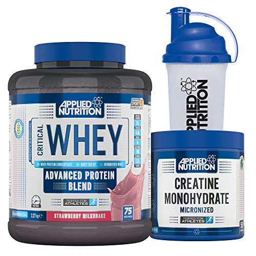 Applied Nutrition Bundle Critical Whey Protein Powder 2.27kg + Creatine Monohydrate 250g + 700ml Shaker | Gold Standard Muscle Building with Glutamine, Amino Acids, BCAA (Strawberry Milkshake)
