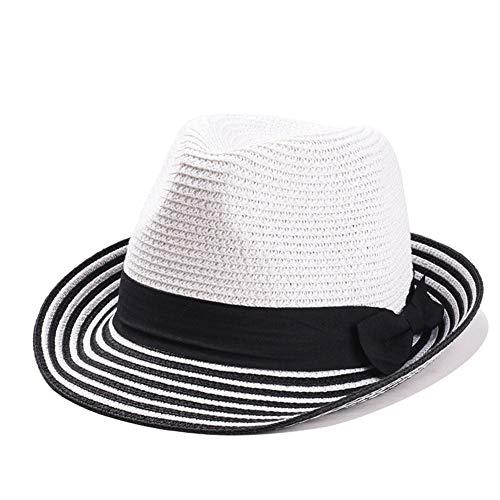 Zomerzon hoedendames strooien hoed vrouwelijke linnen strooien hoed blauw-wit gestreepte lappendeken strand merk dames jazz cap (Color : Color, Size : M)