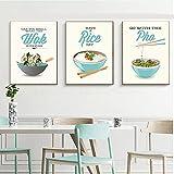 Cartel de restaurante de estilo chino e impresión Fideos de arroz Wok Comida deliciosa Pintura de lienzo Imagen de pared...