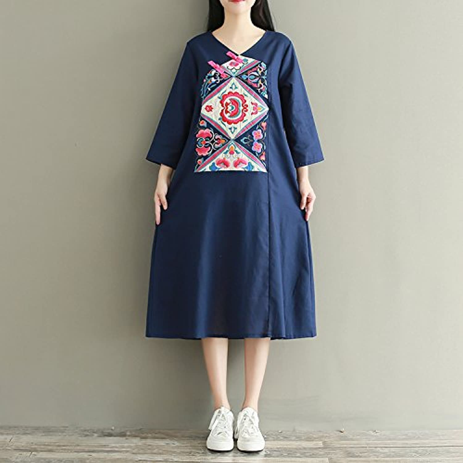 XIURONG Spring And Summer Female Embroidery Cotton Robe Long Sleeved Dress