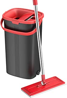 TETHYS Flat Floor Mop and Bucket Set for Professional Home Floor Cleaning System with Aluminum Handle/2-Washable Microfibe...